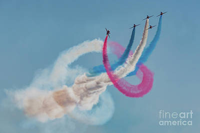 Poster featuring the photograph Red Arrows Twister by Gary Eason