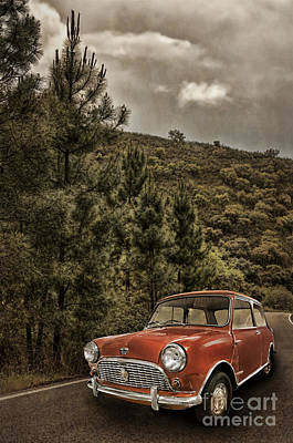 Red Austin Mini On Hill Poster by Amanda Elwell