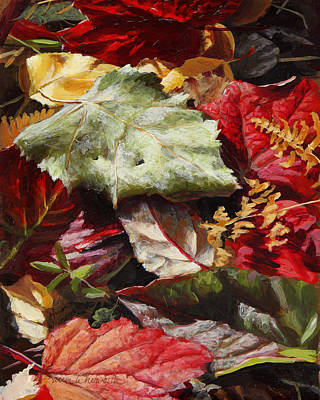 Poster featuring the painting Red Autumn - Wasilla Leaves by Karen Whitworth