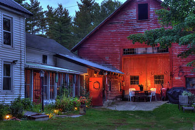 Red Barn And Farm House - Autumn In New Hampshire Poster by Joann Vitali
