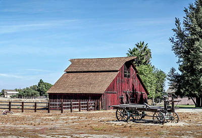 Red Barn And Wagon Poster