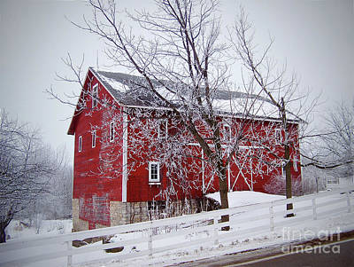 Red Barn Circa 1876 Poster by Sue Stefanowicz