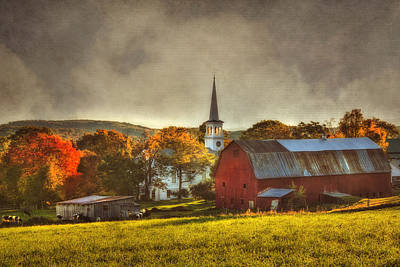 Red Barn In Fall - Peacham Vermont Poster by Joann Vitali