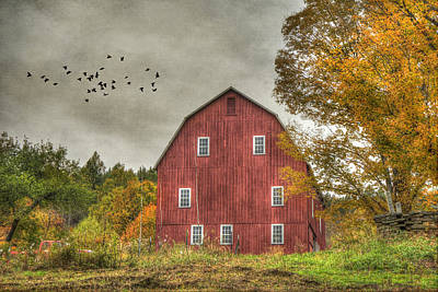 Red Barn In Fall - Woodstock Vermont Poster by Joann Vitali