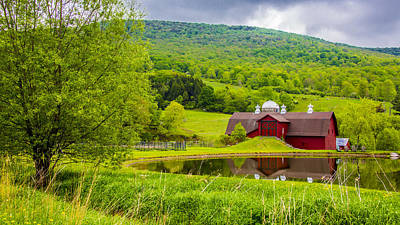 Poster featuring the photograph Red Barn In Green Mountains by Paula Porterfield-Izzo