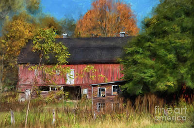 Red Barn In October Poster by Lois Bryan