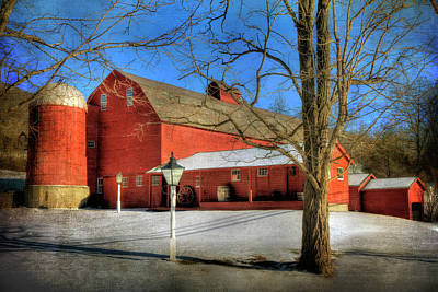 Red Barn In Snow - Vermont Farm Poster by Joann Vitali