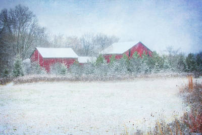 Red Barn In Winter At Retzer Nature Center  Poster