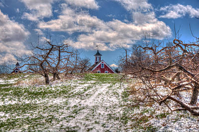 Red Barn On Farm In Winter Poster
