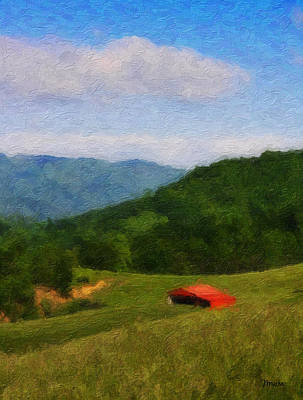 Red Barn On The Mountain Poster