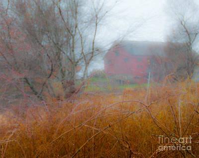 Red Barn Rain Poster
