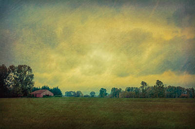 Red Barn Under Stormy Skies Poster