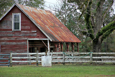 Red Barn With A Rin Roof Poster by Lynn Jordan