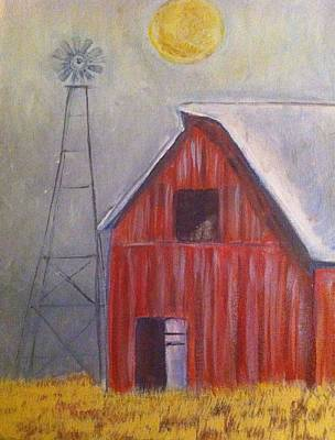 Red Barn With Windmill Poster