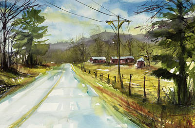 Red Barns On The Right Poster by Judith Levins