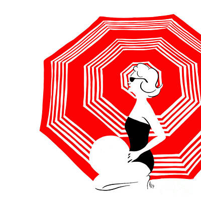 Poster featuring the digital art Red Beach Umbrella by Cindy Garber Iverson