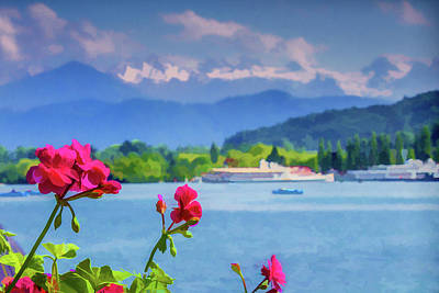 Red Blooms In Lucerne Poster by Lisa Lemmons-Powers