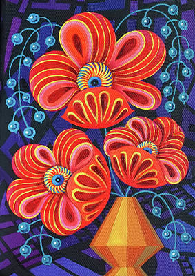 Red Blooms With Berries Poster