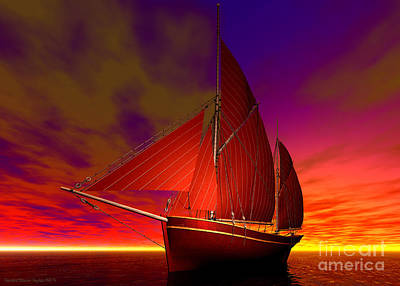 Red Boat At Sunset Poster