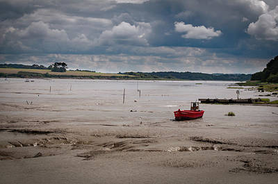 Red Boat On The Mud Poster