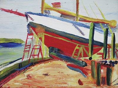 Red Boat Poster by Suzanne  Marie Leclair