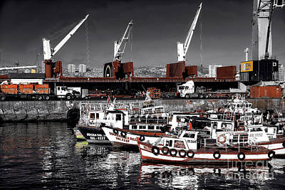 Red Boats In Valparaiso Fusion Poster