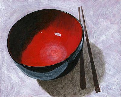 Red Bowl And Chop Sticks Poster by Karyn Robinson