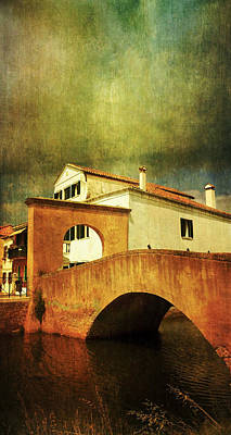 Red Bridge With Storm Cloud Poster by Anne Kotan