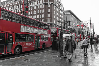 Red Buses And Rain Poster