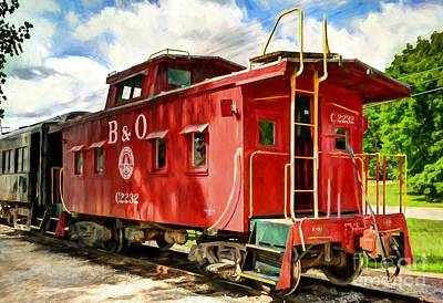 Red Caboose Poster by Mel Steinhauer