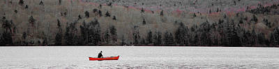Red Canoe On Limekiln Lake Poster by David Patterson