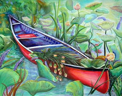 Poster featuring the painting Red Canoe by Patricia Piffath