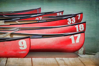 Poster featuring the photograph Red Canoes At Lake Louise by Debby Herold