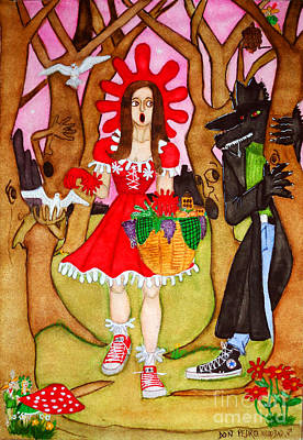 Poster featuring the painting The Little Riding Hood And The Wolf In Chucks by Don Pedro De Gracia
