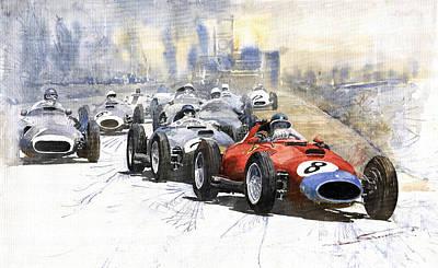 1957 Red Car Ferrari 801 German Gp 1957  Poster by Yuriy  Shevchuk