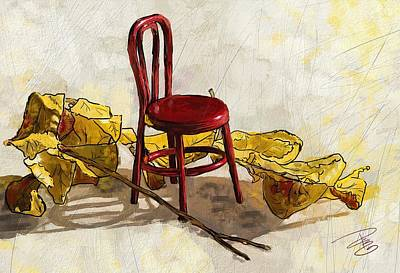 Red Chair And Yellow Leaves Poster