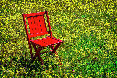 Red Chair In Yellow Flowers Poster by Garry Gay