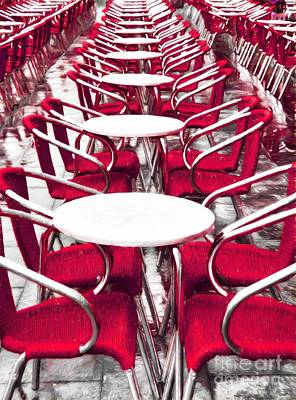 Red Chairs In Venice Poster