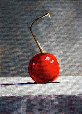 Poster featuring the painting Red Cherry by Nancy Merkle