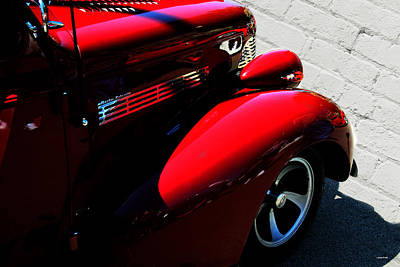 Red Chevy White Brick Poster by Lesa Fine