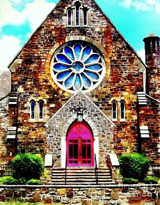 Red Church Door Bethlehem Pa Poster