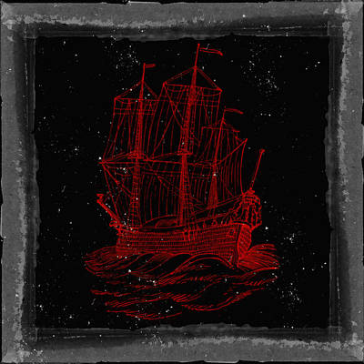Red Clipper Ship Starry Night Poster by Brandi Fitzgerald