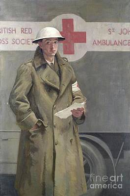 Red Cross Officer In France Poster by Hadyn Reynolds Mackery