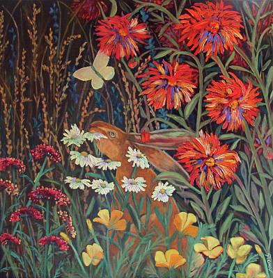 Red Dahlia Garden- Dyptich B Poster by Susan  Spohn