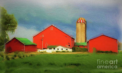 Red Dairy Farm Poster by Anthony Djordjevic
