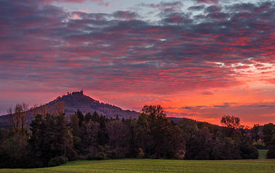 Red Dawn Over The Hohenzollern Castle Poster