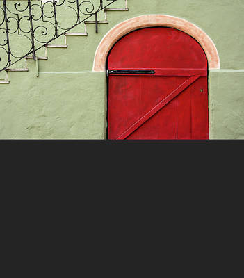 Red Door And Gray Poster by Gala Sofie Kuhn