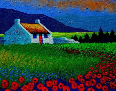 Red Door And Poppies Poster by John  Nolan