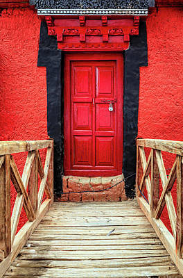 Poster featuring the photograph Red Door At A Monastery by Alexey Stiop