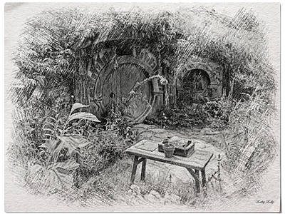 Red Door Hobbit Illustration Poster by Kathy Kelly